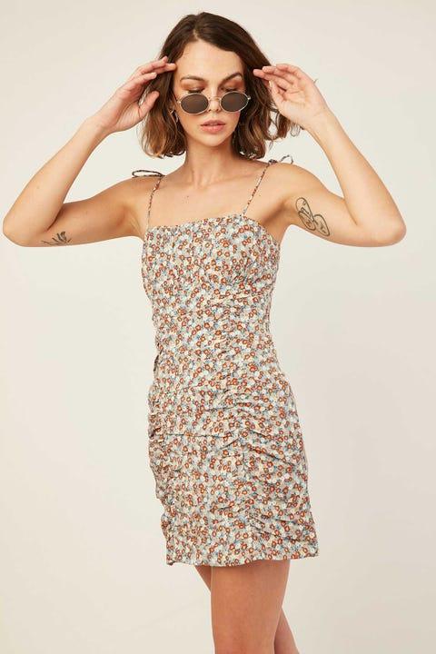 LUCK & TROUBLE Mica Mini Dress Blue Print
