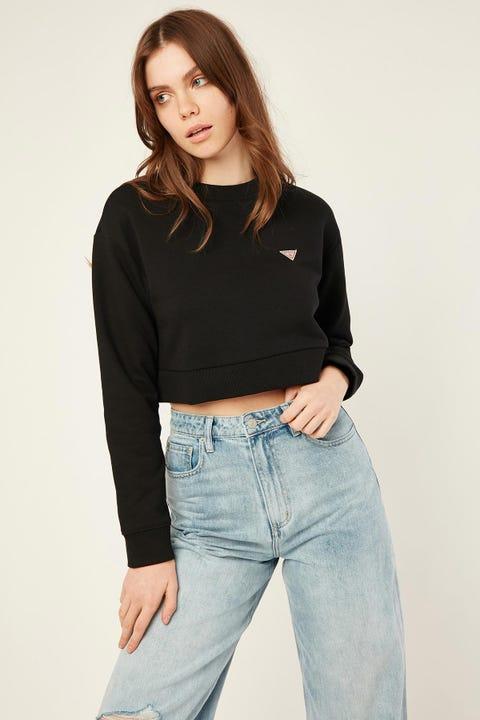 Guess Originals LS Crew Neck Crop Sweatshirt Black