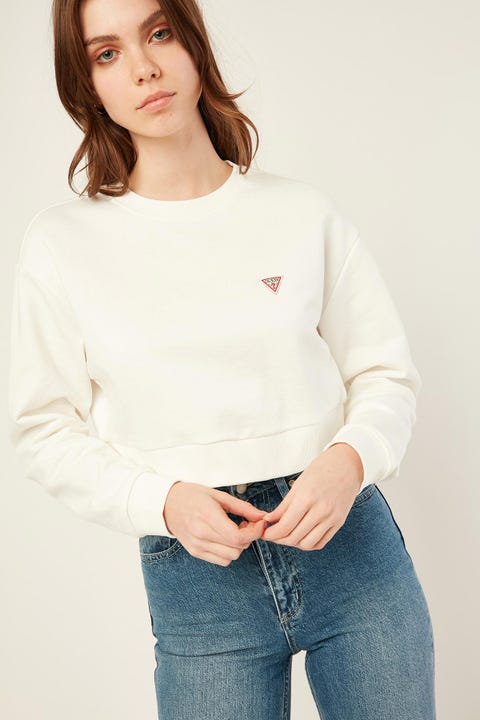 GUESS ORIGINALS LS Crew Neck Crop Sweatshirt Frosted White