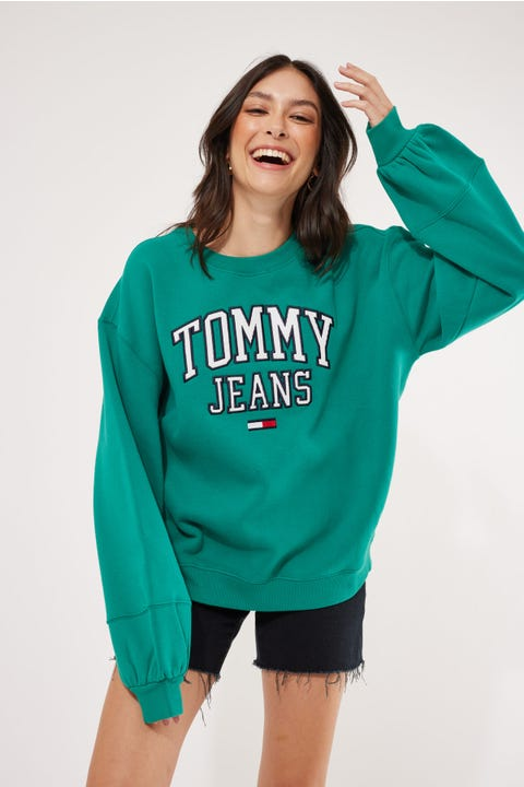 Tommy Jeans Collegiate Logo Crew Midwest Green