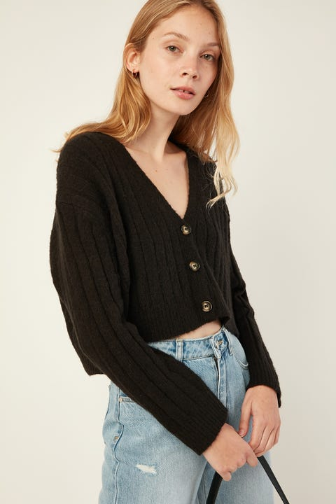 LUCK & TROUBLE Cozy Cropped Cardigan Black