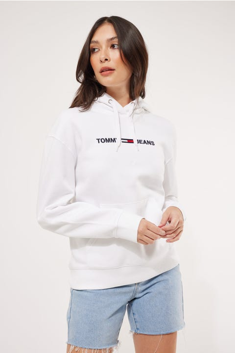 Tommy Jeans Linear Logo Hoodie White