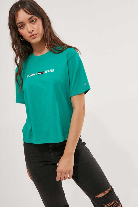 Tommy Jeans Modern Linear Logo Tee Midwest Green
