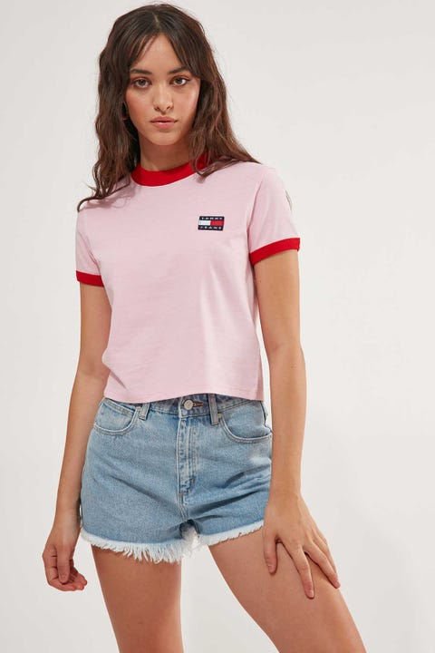 Tommy Jeans Tommy Badge Ringer Tee Romantic Pink