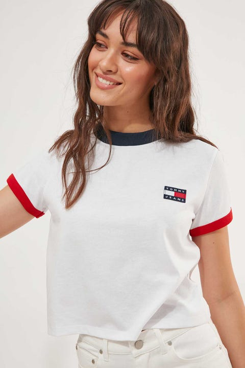 Tommy Jeans Tommy Badge Ringer Tee White