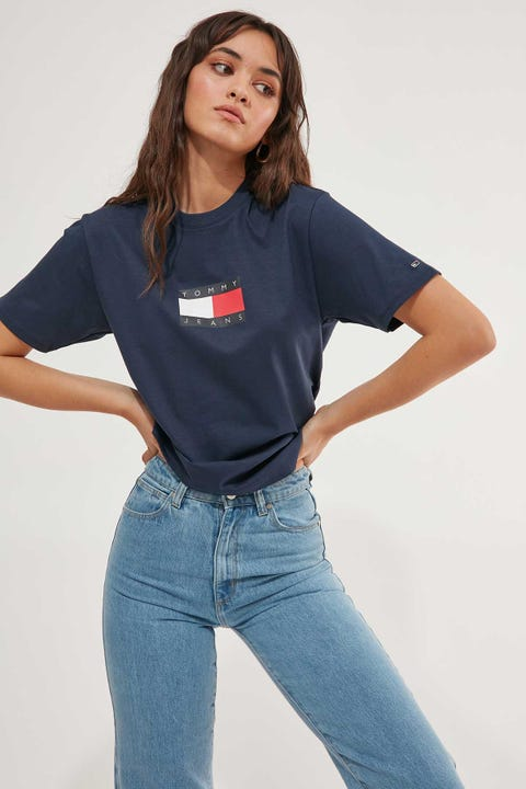 TOMMY JEANS Tommy Flag Boxy Tee Navy