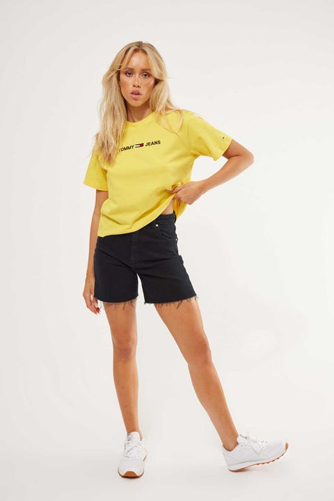 Tommy Jeans Modern Linear Logo Tee Star Fruit Yellow