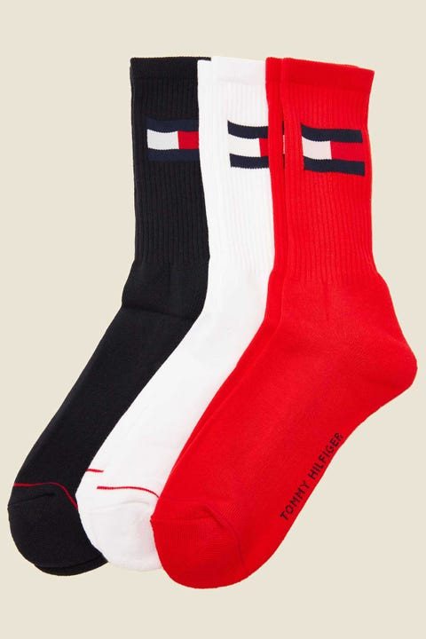 Tommy Jeans 3 Pack Crew Socks Navy/White/Red