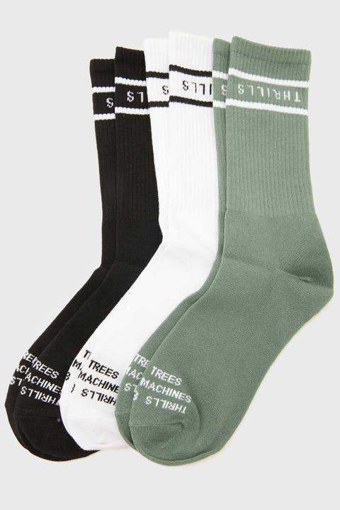 Thrills Minimal Sock 3 Pack Lume Green/Black/White