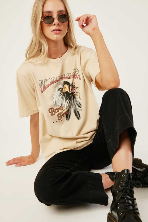 Thrills Feather Rose Merch Tee Thrift White