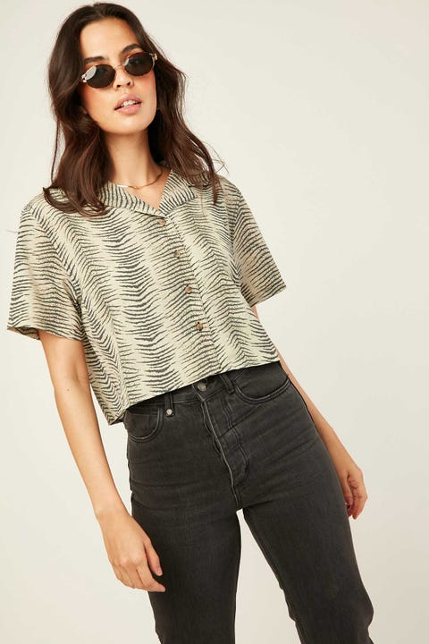 Thrills Zebra Lounge Cropped Shirt Thrift White