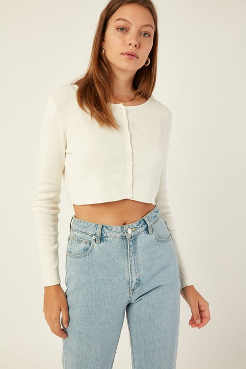 Luck & Trouble Chaylee Knit Cardigan White