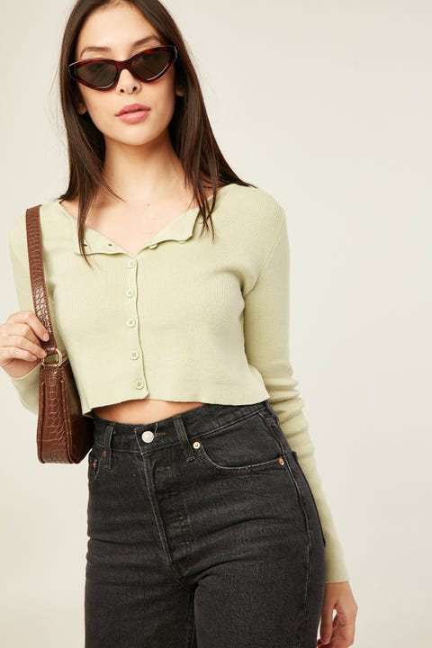 Luck & Trouble Chaylee Knit Cardigan Green