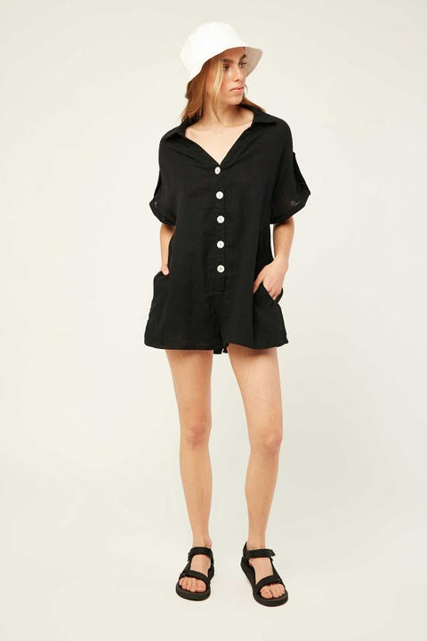 Luck & Trouble Maelyn Playsuit-Black Black