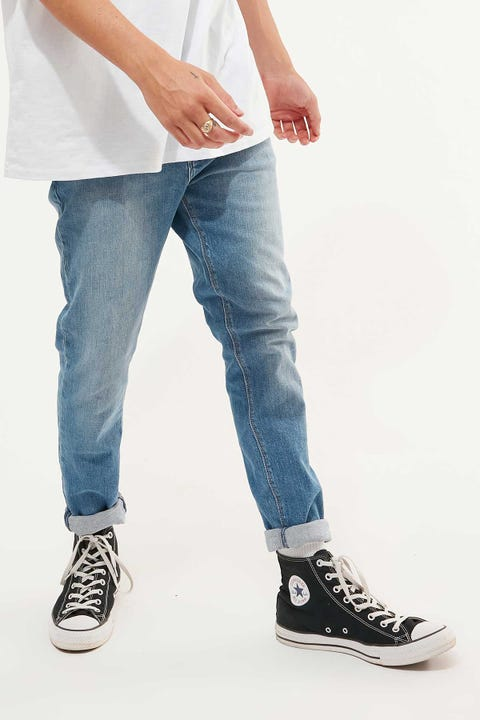 Abrand A Dropped Skinny Turn Up Jean Tribe Blue