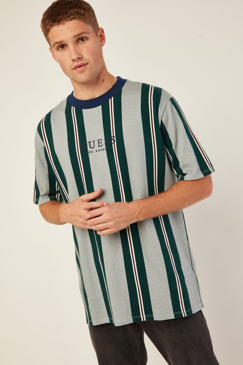 GUESS ORIGINALS GO SS Sangiovese Striped Tee Sangiovese Ever Forest