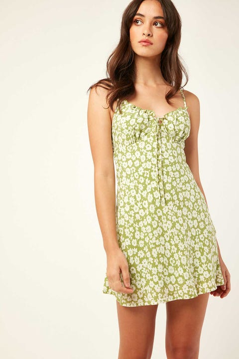 LUCK & TROUBLE Yasmin Mini Dress Green Floral