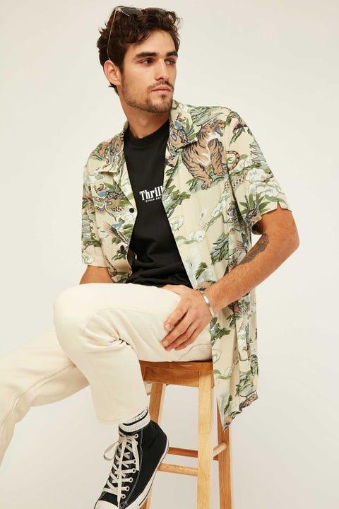 THRILLS Tiger Vs Falcon Bowling Shirt Tan
