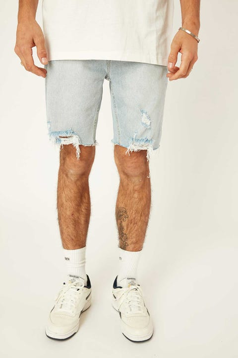 Thrills Destroyed Bones Denim Short Time Worn Blue