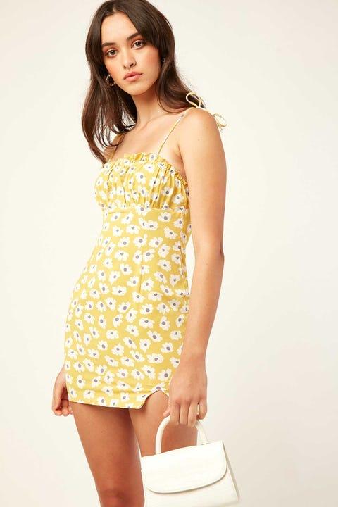 LUCK & TROUBLE Vashti Floral Mini Dress Yellow floral