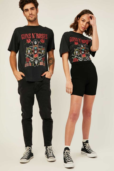 Bravado Guns & Roses Vintage Tee Washed Black