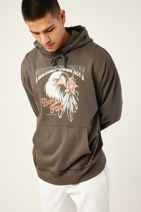 Thrills Feather Rose Merch Fit Hoodie Merch Black