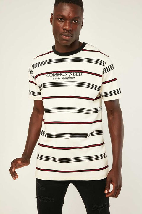 COMMON NEED Sprint Stripe Tee Burgundy/Navy Stripe