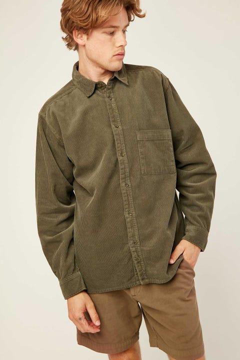 COMMON NEED Kirk Cord Overshirt Olive