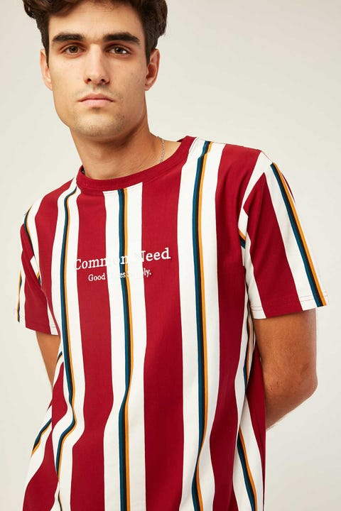 COMMON NEED Washington Vertical Stripe Tee Burgundy/White Stripe