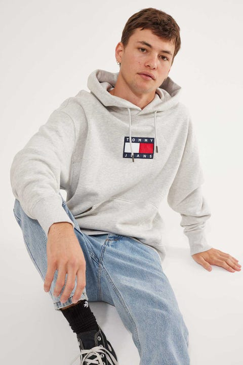 Tommy Jeans Small Flag Hoodie Grey Marle