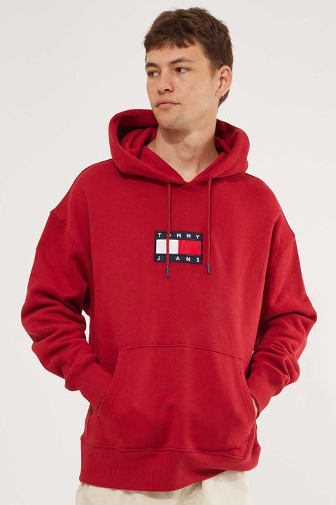 Tommy Jeans Small Flag Hoodie Red