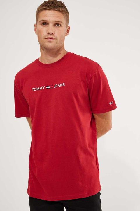 Tommy Jeans Tommy Straight Logo Tee Wine Red