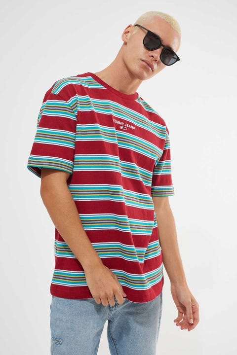 Tommy Jeans Tommy Stripe Layout Tee Wine Red Stripe