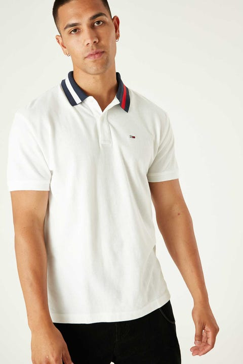 Tommy Jeans Tommy Flag Neck Polo White