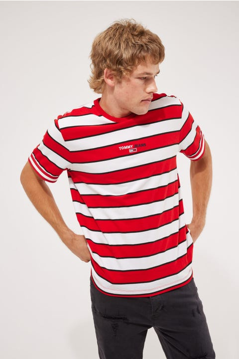 Tommy Jeans Tommy Small Text Stripe Tee Deep Crimson