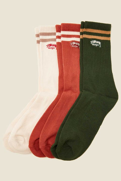STUSSY Authentic Sport Sock 3 Pack White Sand/Brick/Pine