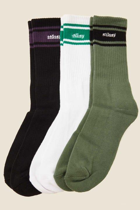 STUSSY Italic Sport Sock 3 Pack White/Black/Flight Green