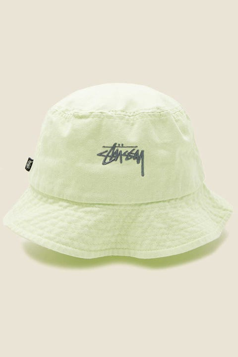 STUSSY Stock Bucket Hat Lime Lime