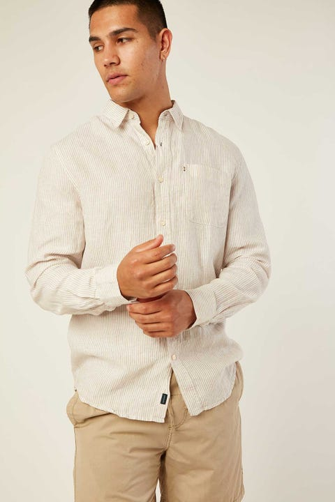 THE ACADEMY BRAND Hampton Linen Shirt Oatmeal Stripe