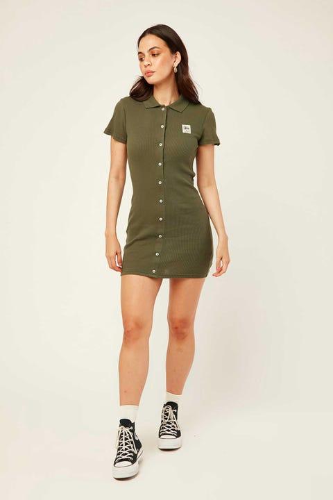STUSSY Markham Rib Dress Flight Green