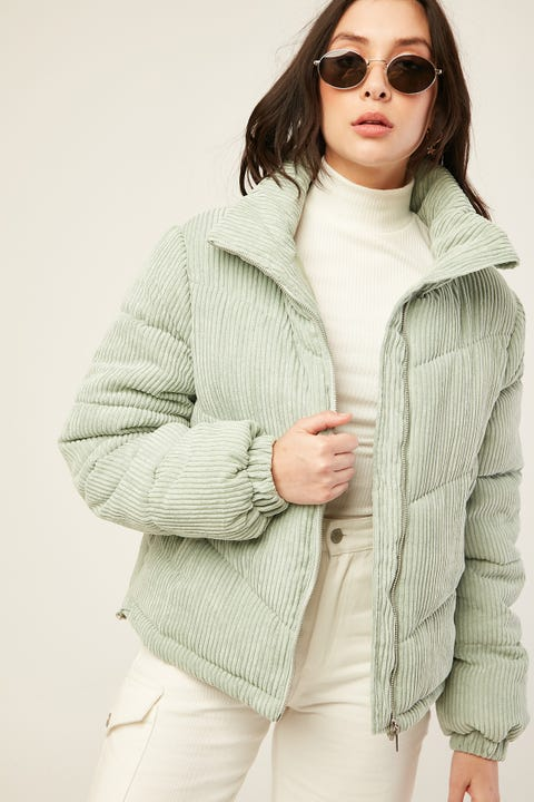 LUCK & TROUBLE Riley Puff Cord Jacket Sage