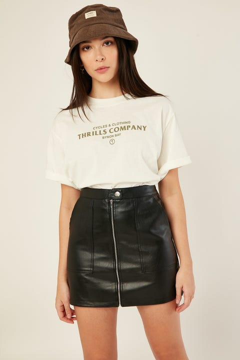 LUCK & TROUBLE Zip PU Mini Skirt Black