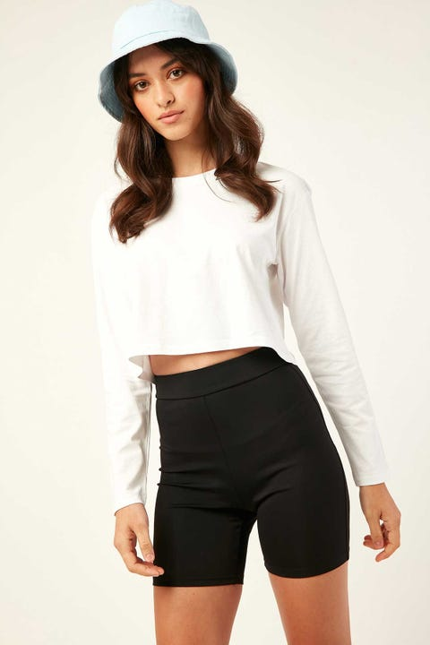 AS Colour Crop Longsleeve Tee White