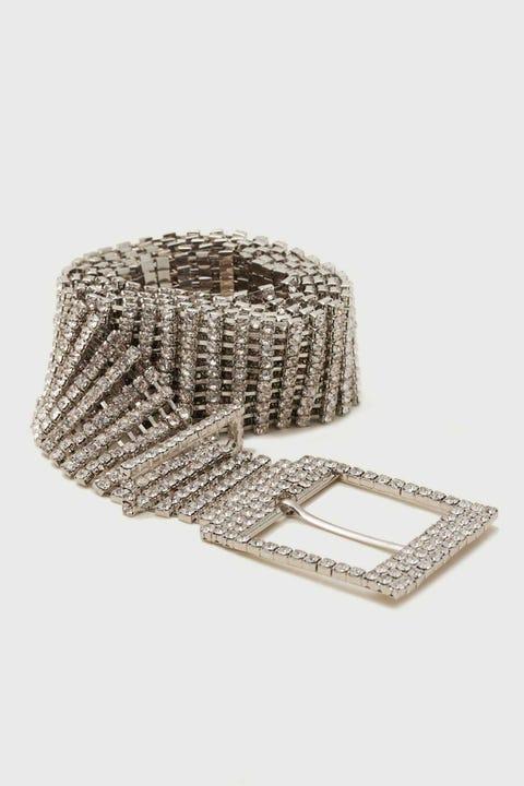 Token Glam Diamante Belt Silver