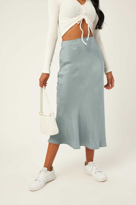 PERFECT STRANGER Saskia Slip Midi Skirt Blue