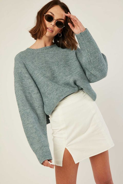 PERFECT STRANGER Marley Crew Knit Teal