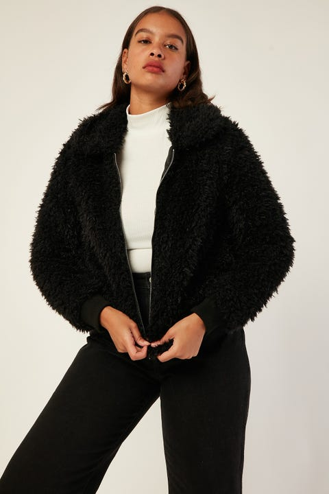 LUCK & TROUBLE Fuzzy Jacket Black
