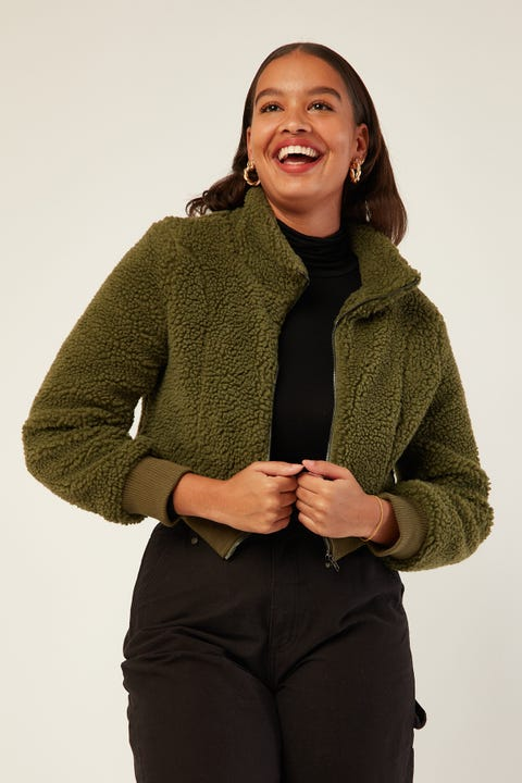 Luck & Trouble Fuzzy Jacket Khaki
