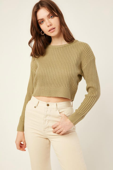 LUCK & TROUBLE Carly Crop Sweater Green