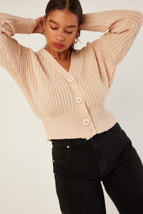 LUCK & TROUBLE Adele Knit Cardigan Peach